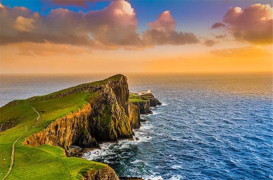 Colorful ocean coast sunset at Neist point lighthouse, Scotland, United Kingdom Stock Photo - Royalty-Free, Artist: martinm303, Image code: 400-07219150