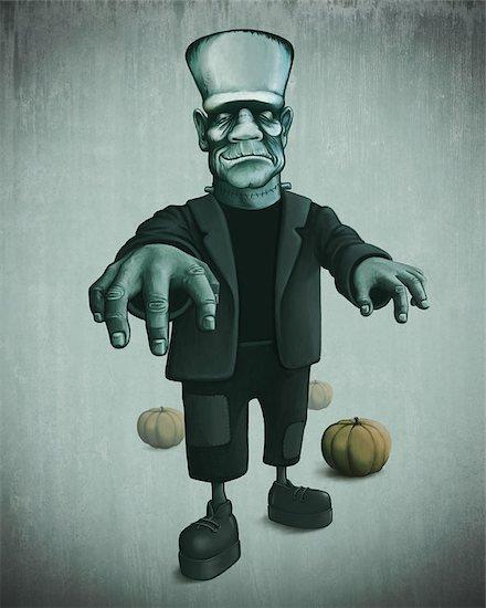 Halloween monster and pumpkin for creepy night Stock Photo - Royalty-Free, Artist: jordygraph, Image code: 400-07243818