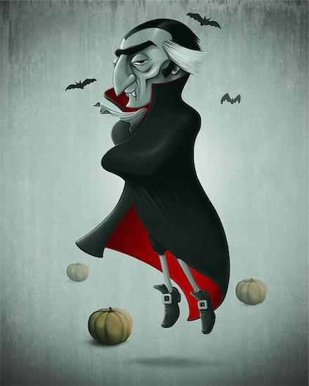 Vampire and pumpkins for halloween creepy night Stock Photo - Royalty-Free, Artist: jordygraph, Image code: 400-07243819