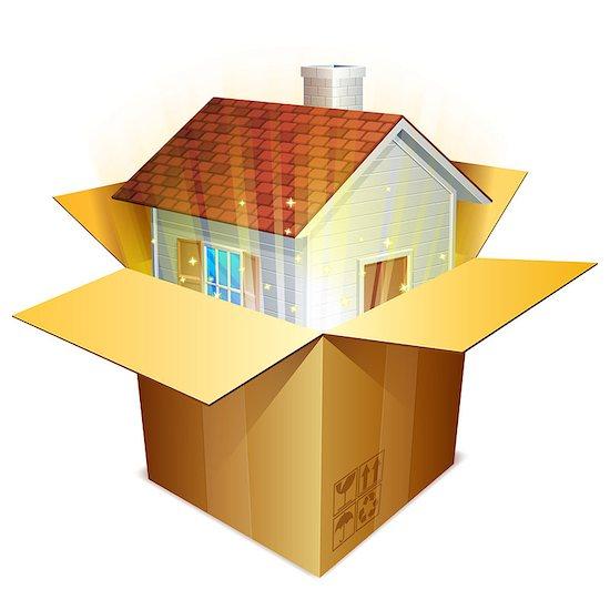 Little house inside cardboard shipping box. Stock Photo - Royalty-Free, Artist: timurock, Image code: 400-07420953