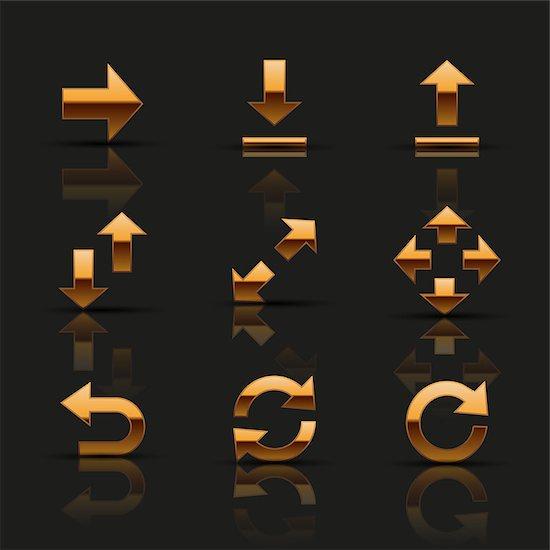 Set of golden icons. Vector illustration. Stock Photo - Royalty-Free, Artist: CelloFun, Image code: 400-07633156
