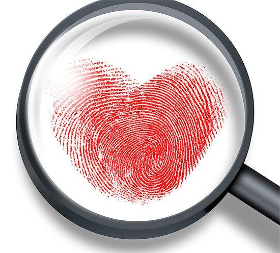 red fingerprint in heart shape through magnifying glass Stock Photo - Royalty-Free, Artist: andrey_kuzmin, Image code: 400-07833473