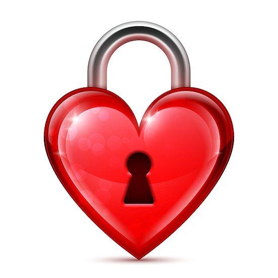 Shiny red heart lock on white background Stock Photo - Royalty-Free, Artist: timurock, Image code: 400-07840318