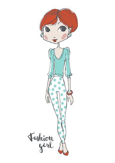 Beautiful fashion girl, model girl vector illustration, cute girl, fashion concept, woman posing Stock Photo - Royalty-Free, Artist: mooltfilm, Image code: 400-08530796