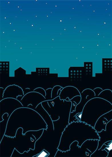 Night city people cellphone art print background Stock Photo - Royalty-Free, Artist: Mushika_11, Image code: 400-09082623
