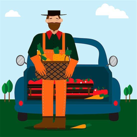 Bearded man and eco food delivery. Cartoon car with green food. Cartoon vector illustration. Stock Photo - Royalty-Free, Artist: Zulfiska, Image code: 400-09137558