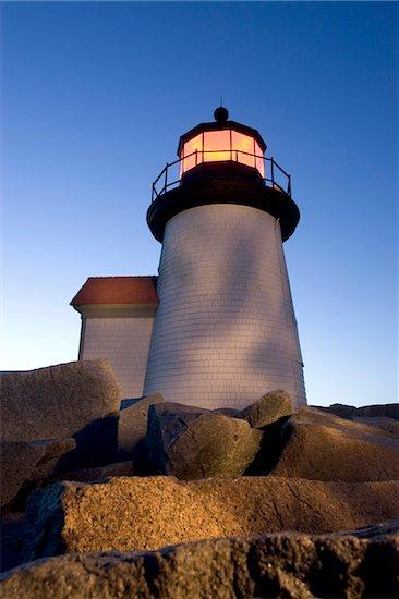 Low angle view of Brandt Point Lighthouse illuminated at dusk, Nantucket, Massachusetts, USA Stock Photo - Premium Royalty-Free, Artist: Michael Eudenbach, Image code: 600-07945101