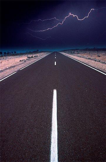 Lightning and Highway, Australian Outback, Australia Stock Photo - Premium Royalty-Free, Artist: Koolstock, Image code: 600-02886462