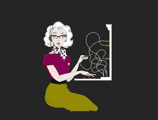 Illustration of a 1950s Telephone Operator Stock Photo - Premium Royalty-Free, Artist: Lisa Brdar, Image code: 600-02967536