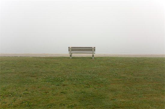 Bench in Park Facing Foggy Harbor, Newport, Rhode Island, USA Stock Photo - Premium Royalty-Free, Artist: Michael Eudenbach, Image code: 600-03405531