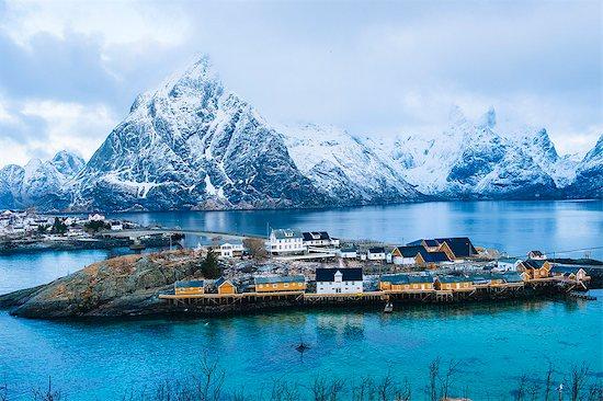 The fishing village of Reine, Lofoten, Norway Stock Photo - Premium Royalty-Free, Image code: 614-08119982