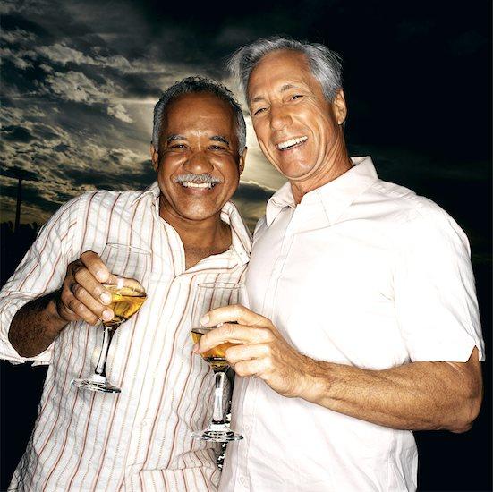 portrait of two elderly men holding their drinks Stock Photo - Premium Royalty-Free, Image code: 618-00459389