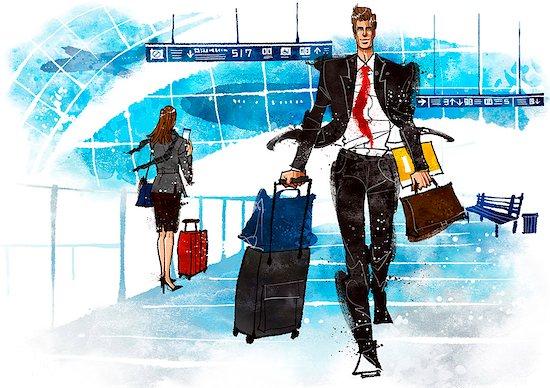 Illustration of businessman on business travel Stock Photo - Premium Royalty-Free, Image code: 6111-06728725