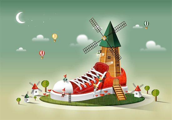 Windmill On Shoe Stock Photo - Premium Royalty-Free, Image code: 6111-06729269