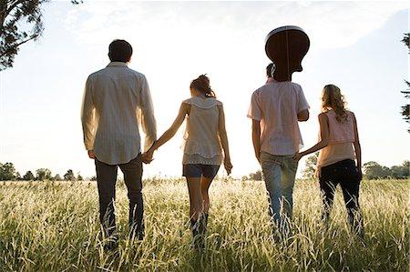 Friends Walking Stock Photo