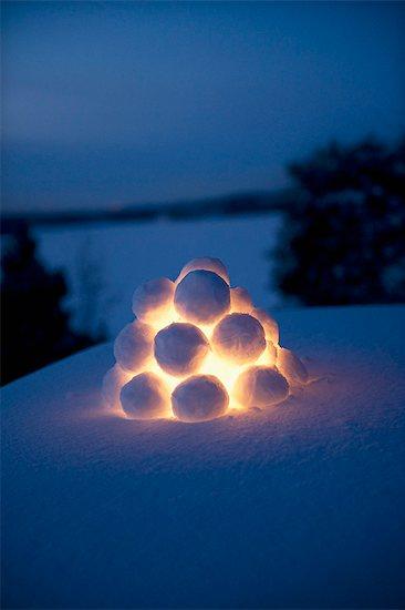 Sweden, Stockholm, Dalaro, Close up of snowball lantern Stock Photo - Premium Royalty-Free, Image code: 6126-08658939