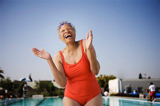 Laughing senior woman swimmer Stock Photo - Premium Royalty-Free, Image code: 621-01799941
