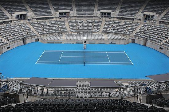 General View of Hard Tennis Court Stock Photo - Premium Royalty-Free, Image code: 622-05602763