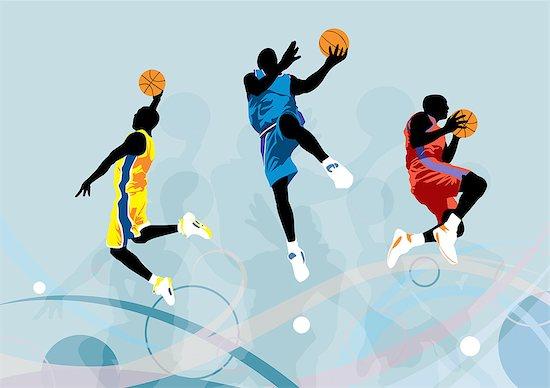 Basketball Player Jumping, Illustration Stock Photo - Premium Royalty-Free, Image code: 622-06190966
