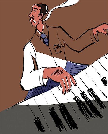 Jazz pianist illustration Stock Photo - Premium Royalty-Free, Image code: 622-06900130