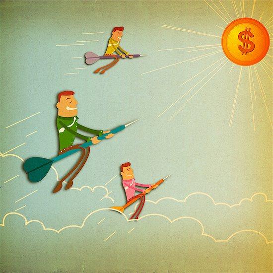 Business executives flying towards dollar sign Stock Photo - Premium Royalty-Free, Image code: 630-06724108