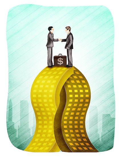 Two businessmen merging company Stock Photo - Premium Royalty-Free, Image code: 630-03481519