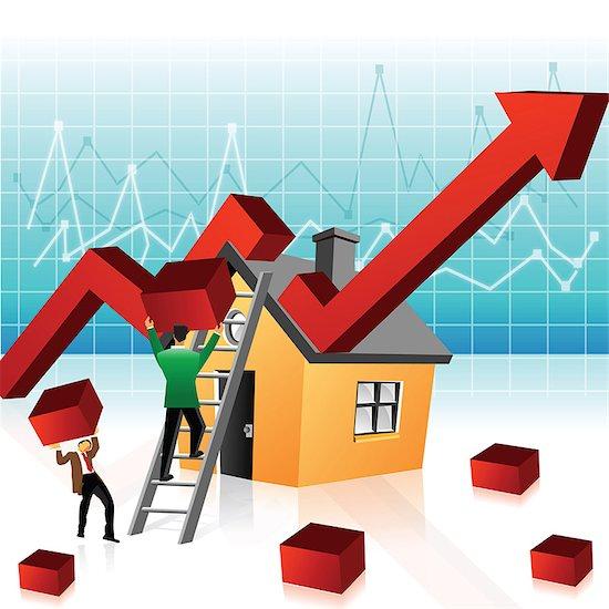 Illustrative representation showing boom in real estate market Stock Photo - Premium Royalty-Free, Image code: 630-03482300