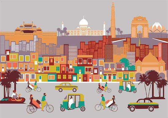 City with montage of landmarks, New Delhi, India Stock Photo - Premium Royalty-Free, Image code: 630-03482336