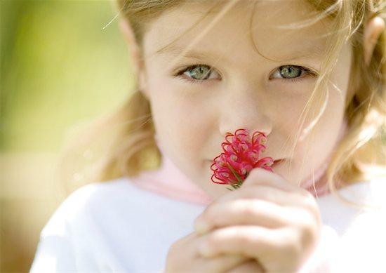 Girl smelling flower Stock Photo - Premium Royalty-Free, Image code: 632-01154938