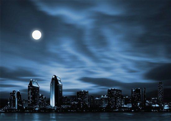 Night skyline of futuristic city with full moon Stock Photo - Premium Royalty-Free, Image code: 645-01538104