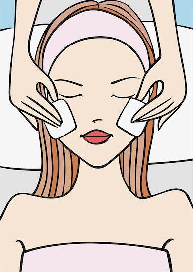 Woman receiving a facial Stock Photo - Premium Royalty-Free, Image code: 645-01739977