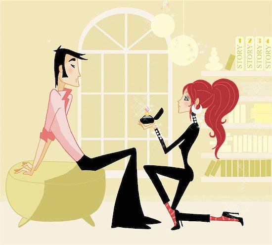 Woman proposing to man Stock Photo - Premium Royalty-Free, Image code: 645-01740033