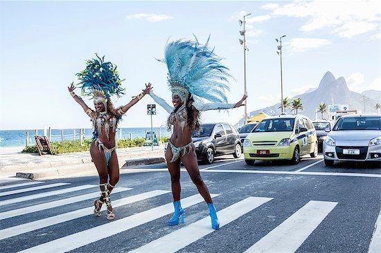 Samba dancers stopping traffic, Ipanema Beach, Rio De Janeiro, Brazil Stock Photo - Premium Royalty-Free, Image code: 649-07119510