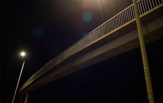 Pedestrian footbridge at night Stock Photo - Premium Royalty-Free, Image code: 649-07437118