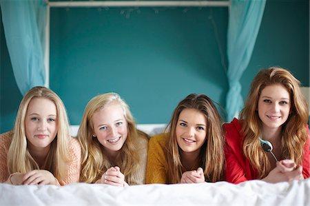 Blonde teen girls group