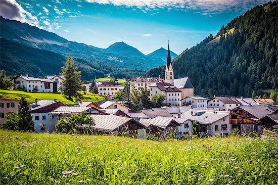 Valley town, Santa Maria Val Mustair, Switzerland Stock Photo - Premium Royalty-Free, Image code: 649-08329000
