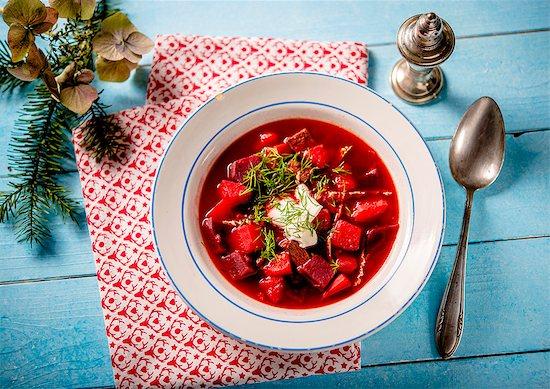 Borscht with sour cream Stock Photo - Premium Royalty-Free, Image code: 659-08904264