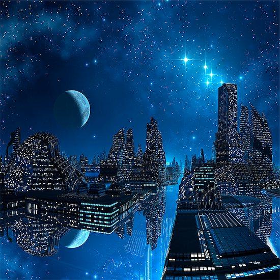 Alien city, computer artwork. Stock Photo - Premium Royalty-Free, Image code: 679-06198347