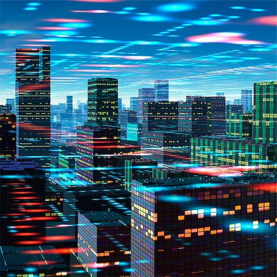 Futuristic city, conceptual computer artwork. Stock Photo - Premium Royalty-Free, Image code: 679-06198349
