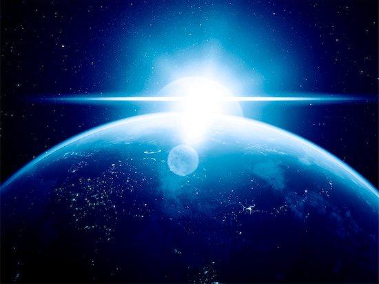 Earth and Sun, computer artwork. Stock Photo - Premium Royalty-Free, Image code: 679-07603181