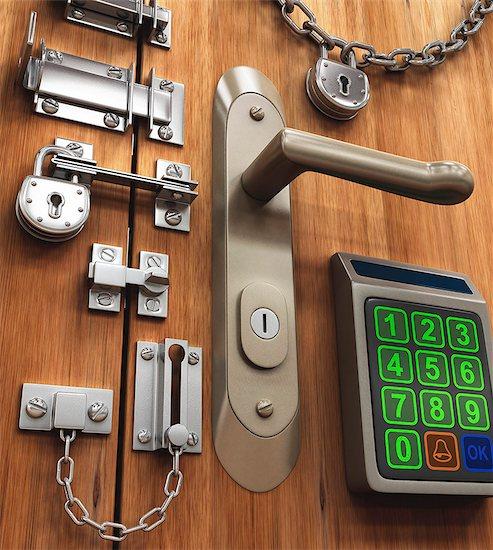 Door with various locks, conceptual artwork, Stock Photo - Premium Royalty-Free, Image code: 679-07764698
