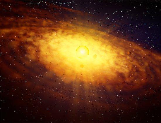 Protoplanetary disc formation, illustration. Stock Photo - Premium Royalty-Free, Image code: 679-08829102