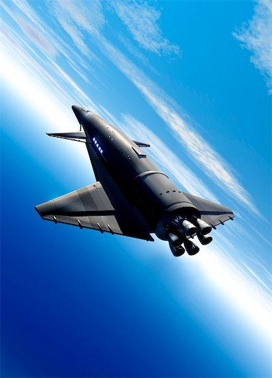 Spaceship in Earth orbit, computer artwork. Stock Photo - Premium Royalty-Free, Image code: 679-03681034