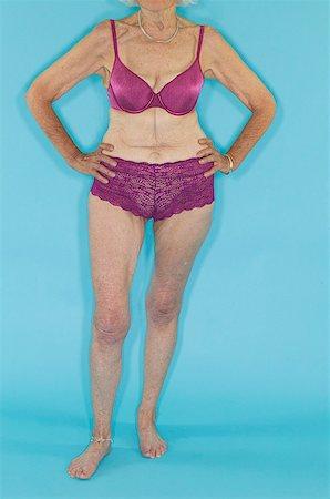 Old lady in underwear