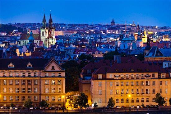 Night Skyline, Prague, Czech Republic Stock Photo - Premium Rights-Managed, Artist: R. Ian Lloyd, Image code: 700-05642362