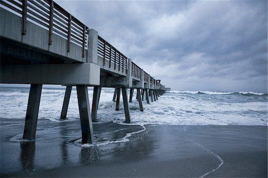 Hurricane Irene, Juno Beach Pier, Palm Beach County, Florida, USA Stock Photo - Premium Rights-Managed, Artist: Peter Barrett, Image code: 700-05973007