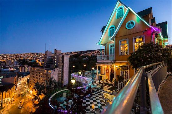 View of city street and skyline at night, Valparaiso, Provincia de Valparaiso, Chile Stock Photo - Premium Rights-Managed, Artist: R. Ian Lloyd, Image code: 700-07203973