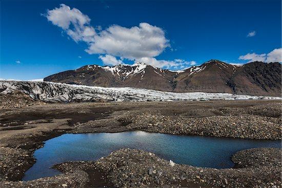 Scenic view of glacier, lake and mountains, Skaftafellsjokull, Skaftafell National Park, Iceland Stock Photo - Premium Rights-Managed, Artist: R. Ian Lloyd, Image code: 700-07760094