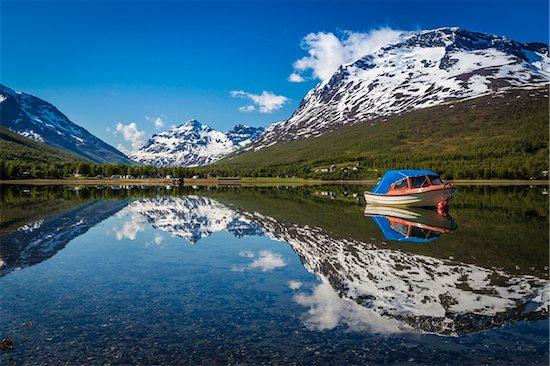 Boat on Lake, Ramfjord, Tromso, Norway Stock Photo - Premium Rights-Managed, Artist: R. Ian Lloyd, Image code: 700-07784106