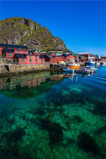 Rorbuer and Fishing Boats, Stamsund, Vestvagoya, Lofoten Archipelago, Norway Stock Photo - Premium Rights-Managed, Artist: R. Ian Lloyd, Image code: 700-07784273